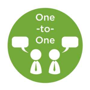 graphic of two figures talking one-to-one in text