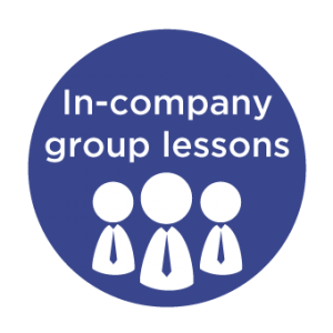 language courses: graphic of three figures with text saying in-company group lessons