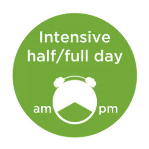 language courses: graphic of a clock with text saying intensive half/full day