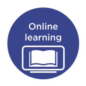 language courses: graphic of a computer with text saying online learning