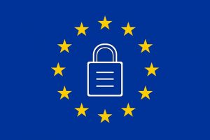 European Union sign with padlock on blue background