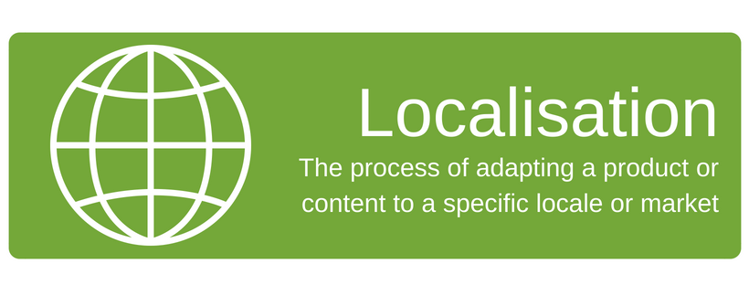 Localisation Services: The process of adapting a product or content to a specific locale or market
