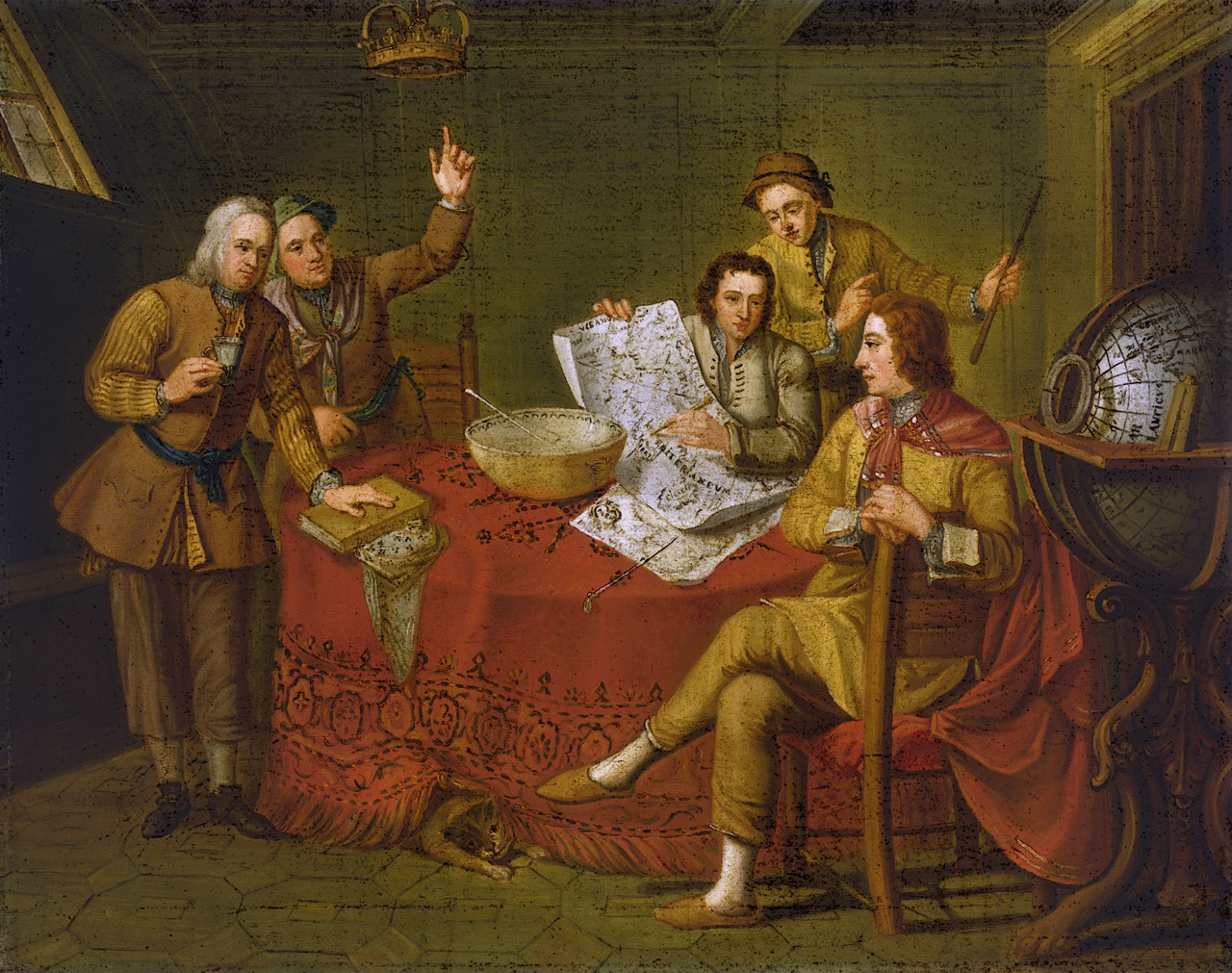 Picture of Gustavus Hamilton, 1710-46, 2nd Viscount Boyne, and Friends in a Ship's Cabin, in the age of the Grand Tour.